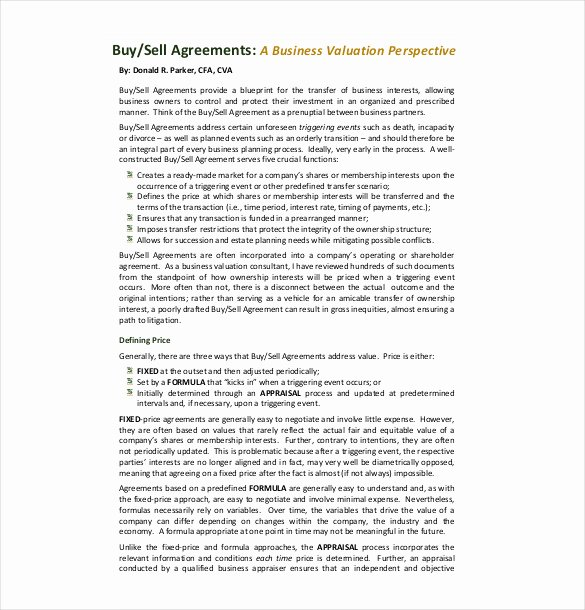 Buy Sell Agreement Llc Template Lovely 22 Buy Sell Agreement Templates Pages Docs