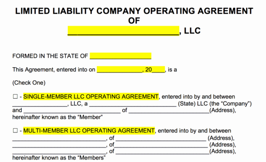 Buy Sell Agreement Llc Template Luxury Free Llc Operating Agreement Templates Pdf