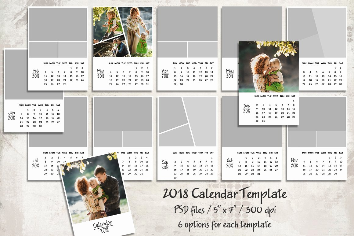 Calendar Template for Photoshop Beautiful 2018 Calendar Template Templates Creative Market