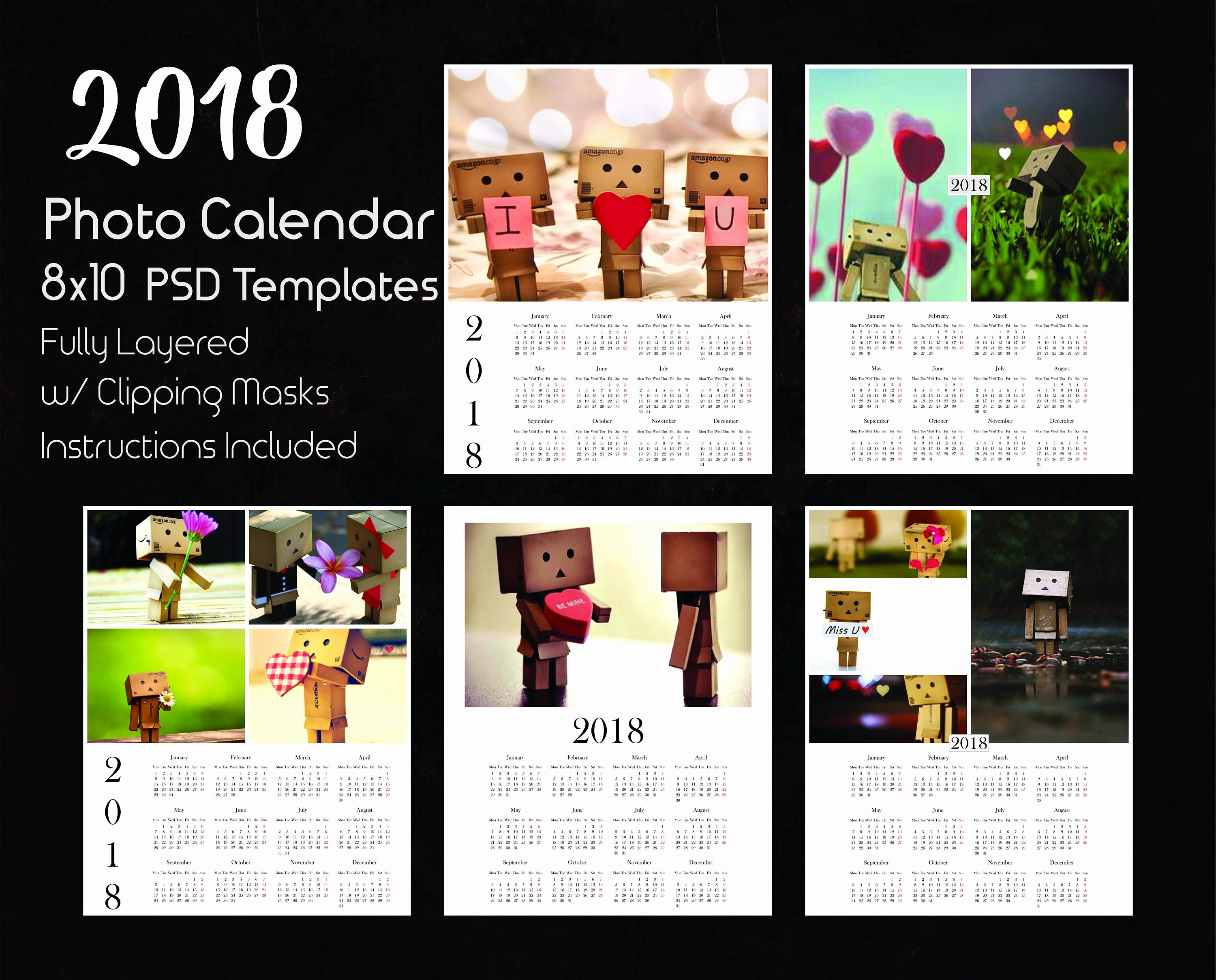 Calendar Template for Photoshop Beautiful 8x10 Calendar Template 2018 5 Psd Templates Shop