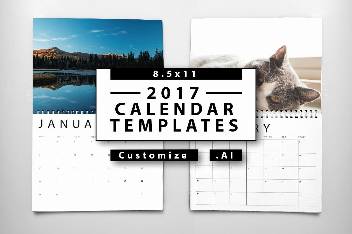 Calendar Template for Photoshop Elegant 2017 Calendar Templates Templates Creative Market