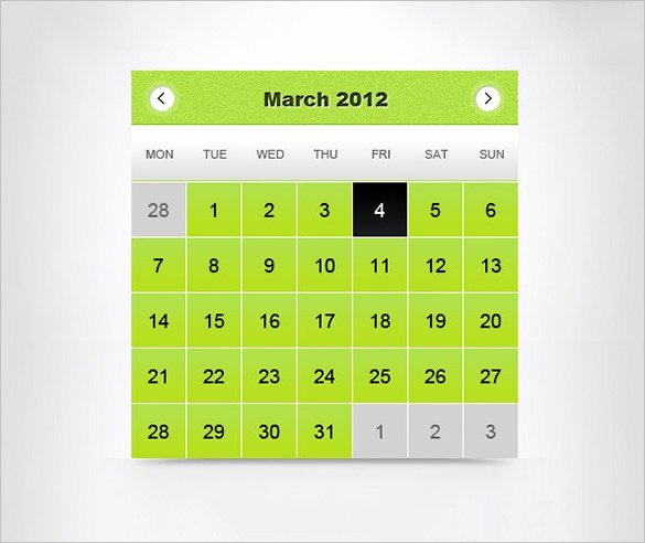Calendar Template for Photoshop Elegant Calendar Template Shop