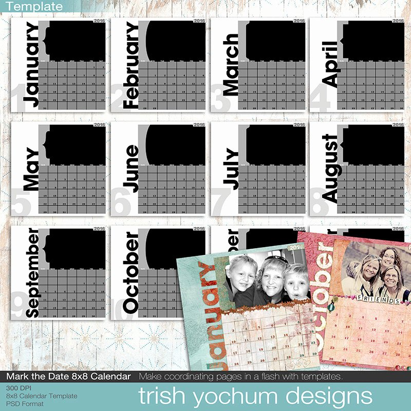 Calendar Template for Photoshop Fresh 2016 Calendar Template Printable Calendar Shop Psd