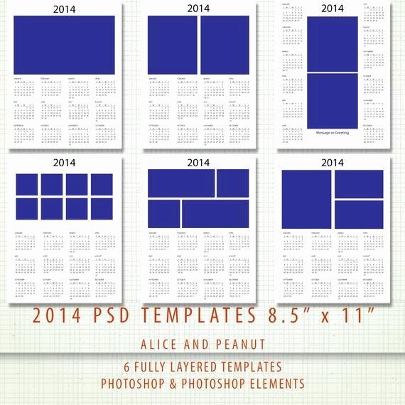 Calendar Template for Photoshop Lovely Items Similar to 2014 Calendar Template Set 8 5x11 Psd