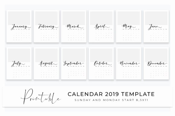 Calendar Template for Photoshop New 2019 Calendar Template for Shop Add Photos and Print