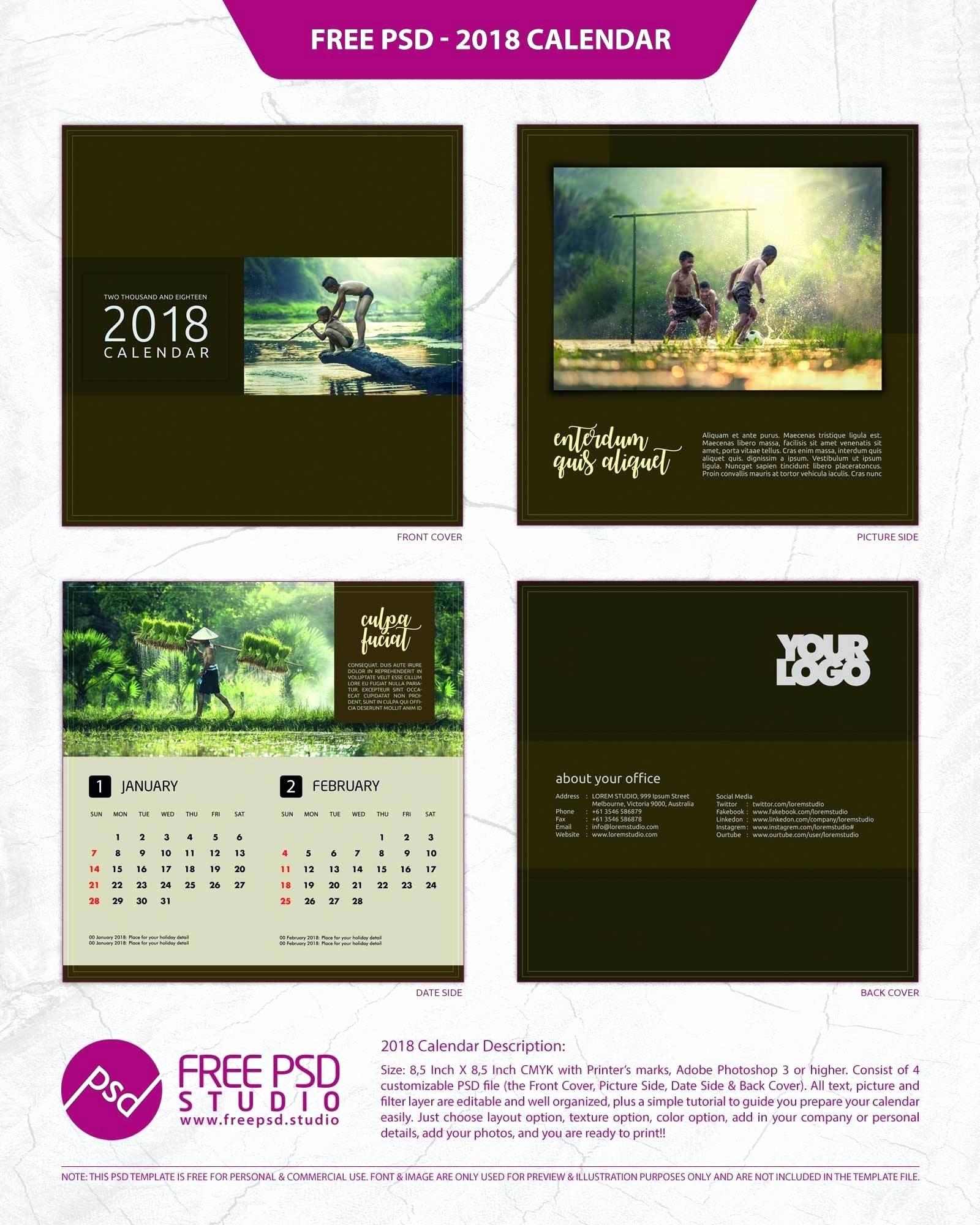 Calendar Template for Photoshop New Calendar Template Shop