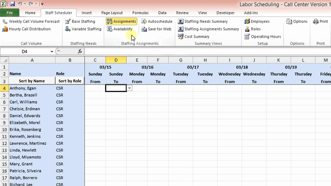 Call Center Schedule Template Excel Elegant Labor Scheduling Template for Excel Call Center Version