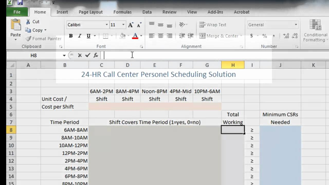 Call Center Schedule Template Excel Unique Call Center Staffing and Cost Reduction Using Excel