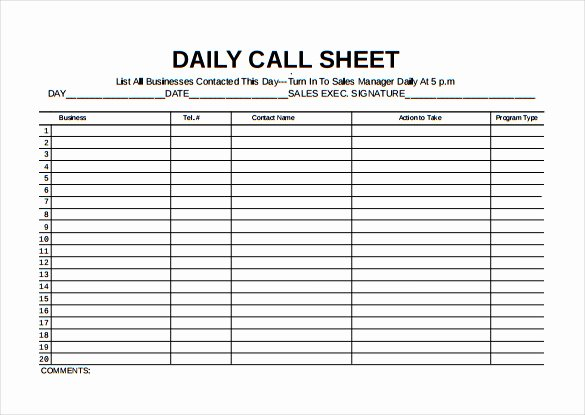 Call Log Template Excel Beautiful Call Sheet Template 23 Free Word Pdf Documents