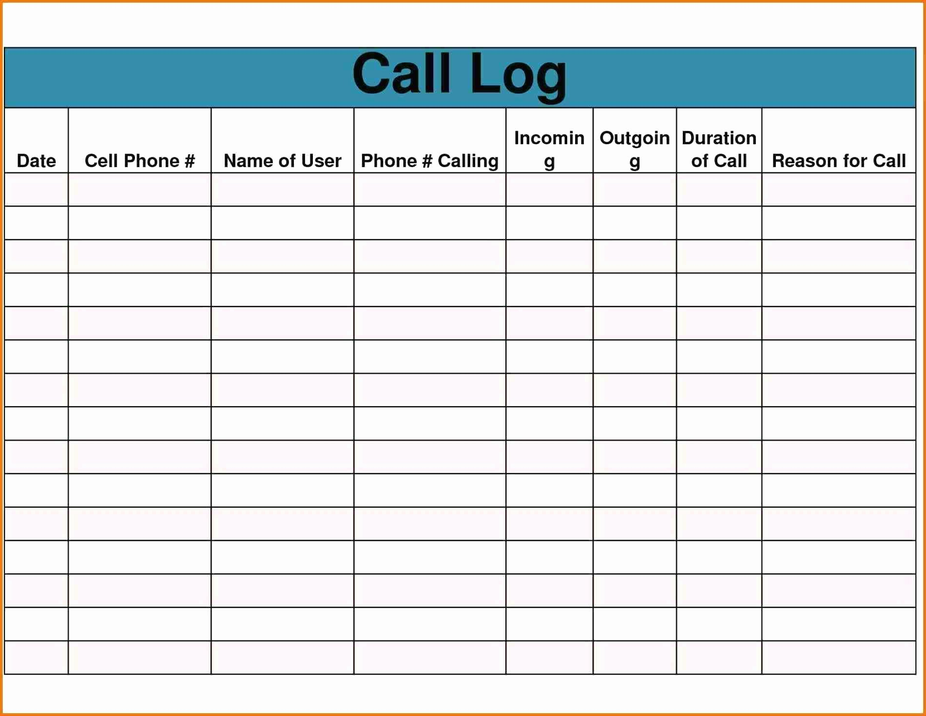 Call Log Template Excel Best Of Template Call Log Template Word