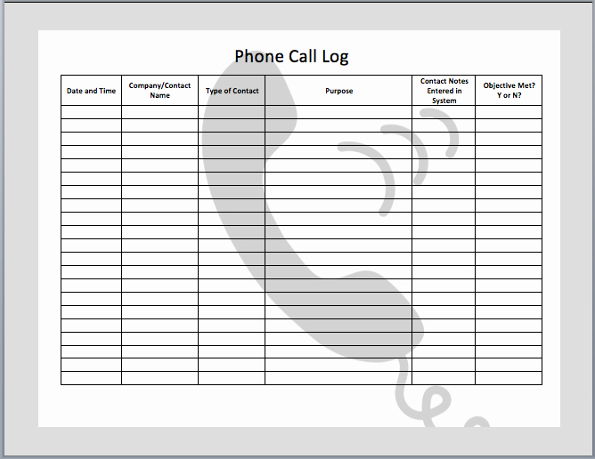 Call Log Template Excel Elegant 7 Best Of Free Printable Call Log Template Free
