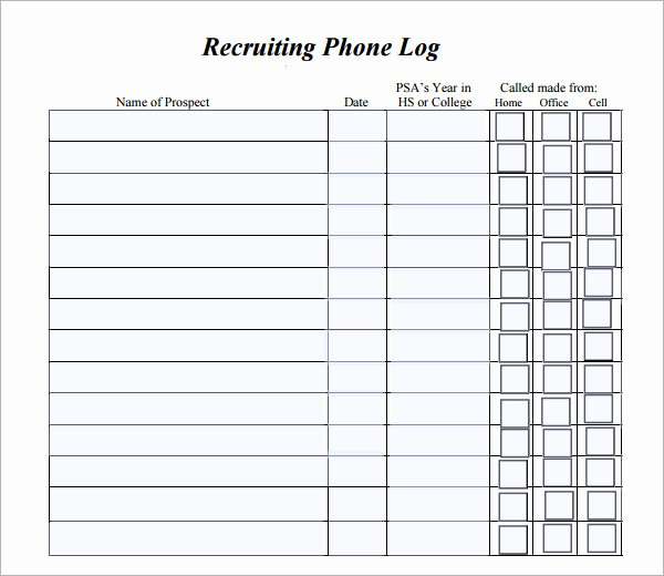 Call Log Template Excel Fresh Phone Log Template 8 Free Pdf Doc Download