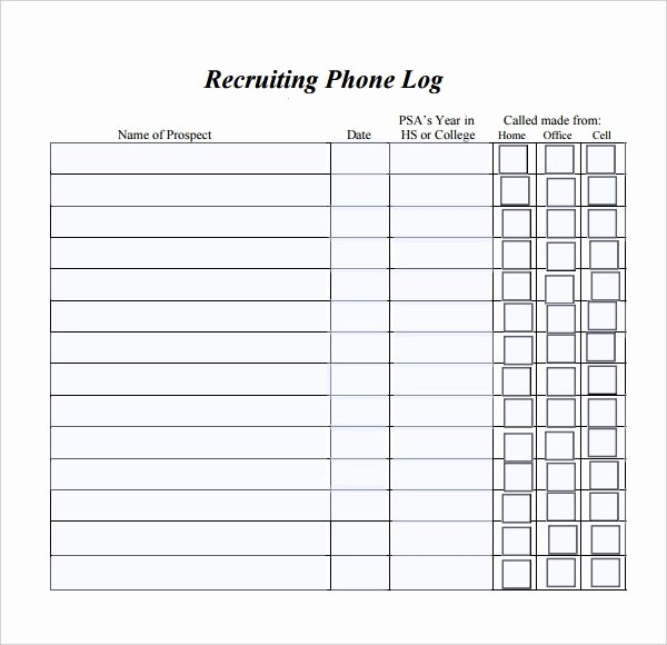 Call Log Template Excel Unique Phone Log Template 8 Free Word Pdf Documents Download