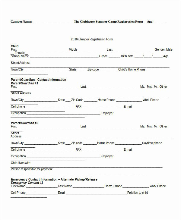 Camp Registration form Template Awesome Registration form Template 9 Free Pdf Word Documents