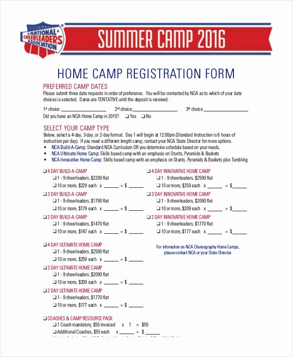 Camp Registration form Template Awesome Sample Camp Registration form 11 Free Documents In Pdf