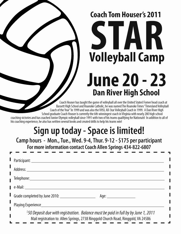 Camp Registration form Template Awesome Star Volleyball Camp at Dan River High Ringgold Virginia