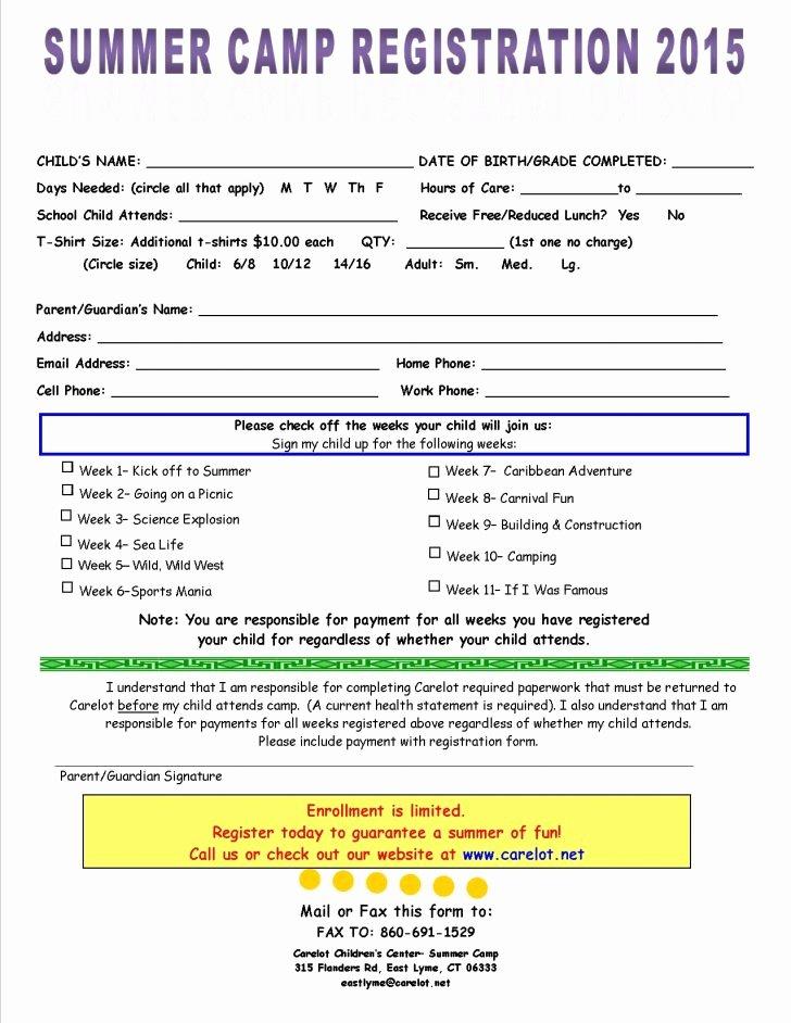 Camp Registration form Template Elegant form Summer Camp Registration form