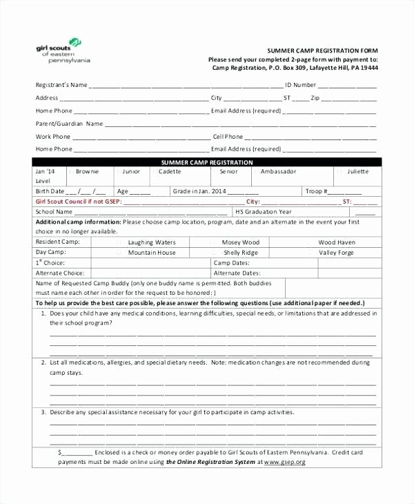 Camp Registration form Template Fresh 95 Day Camp Registration form Template Summer Camp