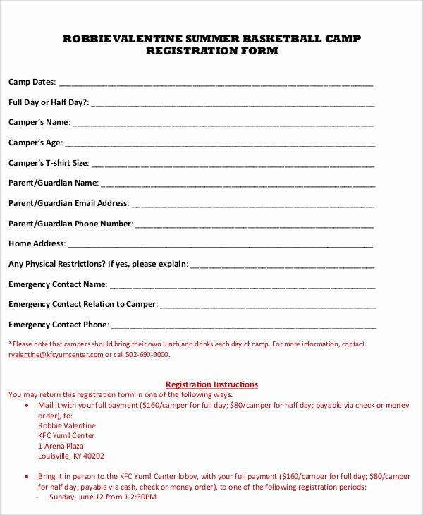Camp Registration form Template Fresh Registration forms In Pdf