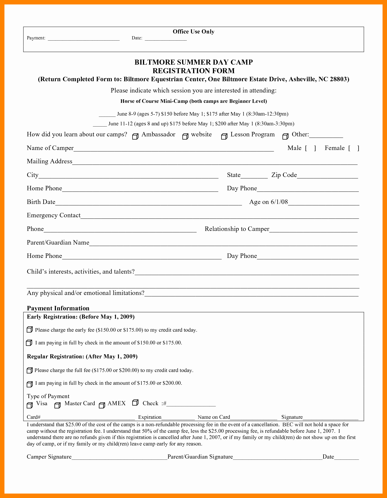 Camp Registration form Template Inspirational 15 Registration form for Summer Camp