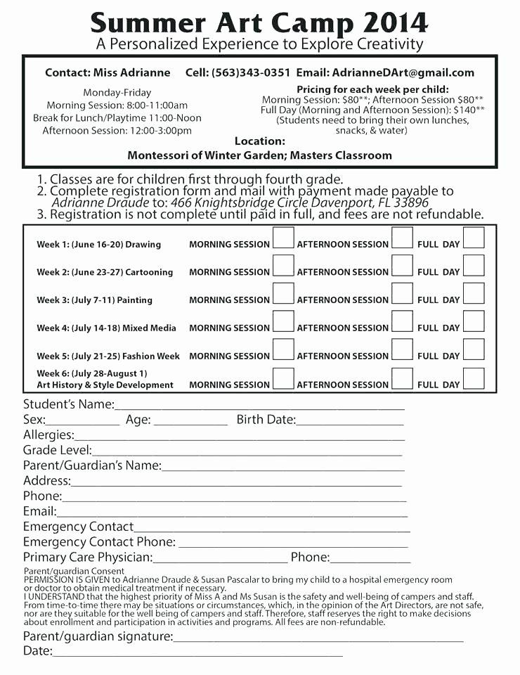 Camp Registration form Template Inspirational Camp Registration form Template Sign Up Word In Medical