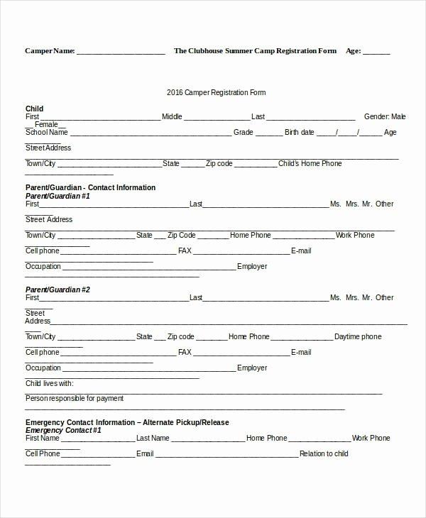 Camp Registration form Template Lovely Camp Registration form Template Invitation Template