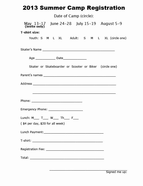 Camp Registration form Template Lovely Camp Registration form Template