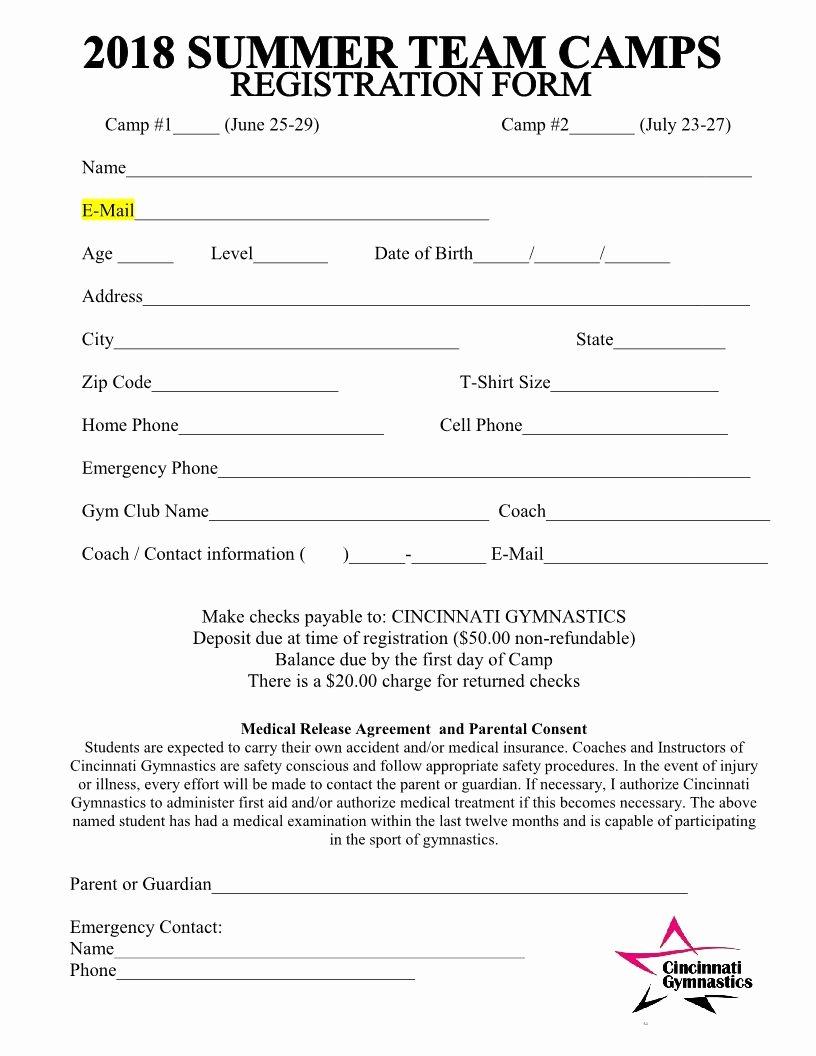 Camp Registration form Template New 2018 Summer Team Camps Registration form Cincinnati