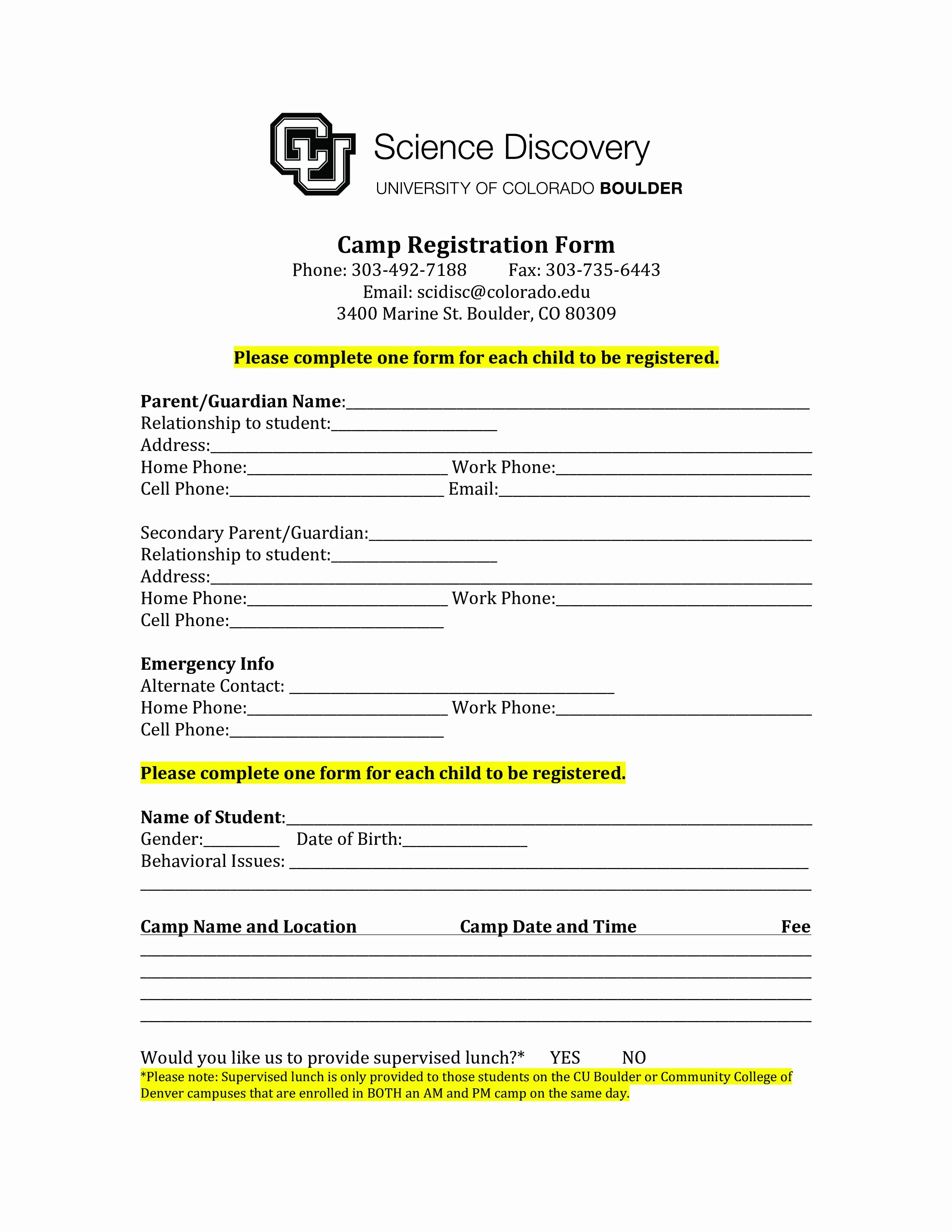 Camp Registration form Template Unique Camp Application form Template
