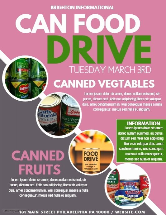 Canned Food Drive Flyer Template Beautiful Food Drive Template