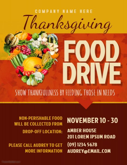 Canned Food Drive Flyer Template Best Of Thanksgiving Food Drive Flyer Template
