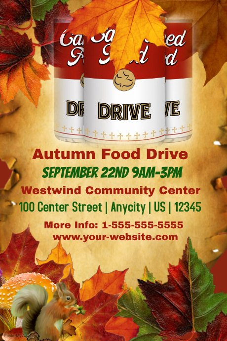 Canned Food Drive Flyer Template Elegant Autumn Food Drive Template