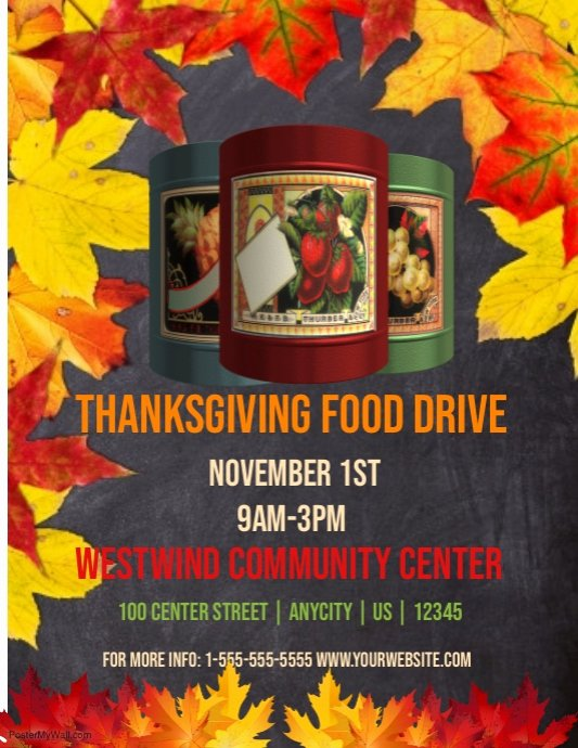 Canned Food Drive Flyer Template Elegant Thanksgiving Food Drive Template