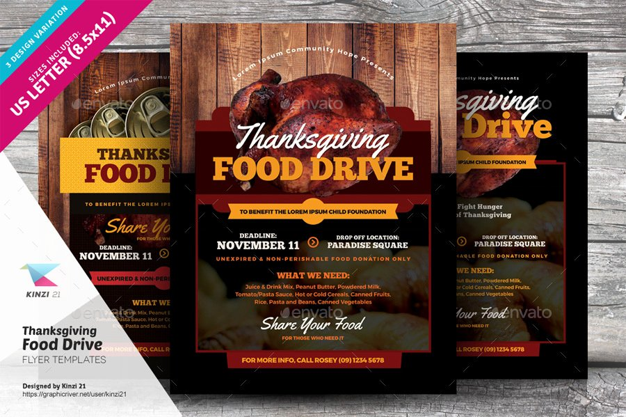 Canned Food Drive Flyer Template Inspirational Thanksgiving Food Drive Flyer Templates by Kinzi21