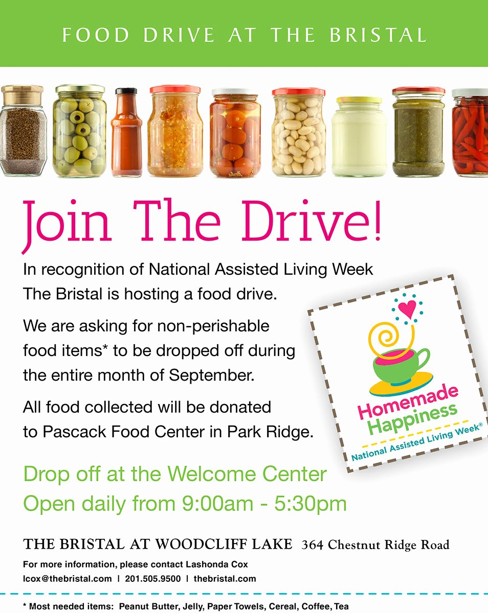 Canned Food Drive Flyer Template Luxury Food Drive In Woodcliff Lake the Bristal assisted Living