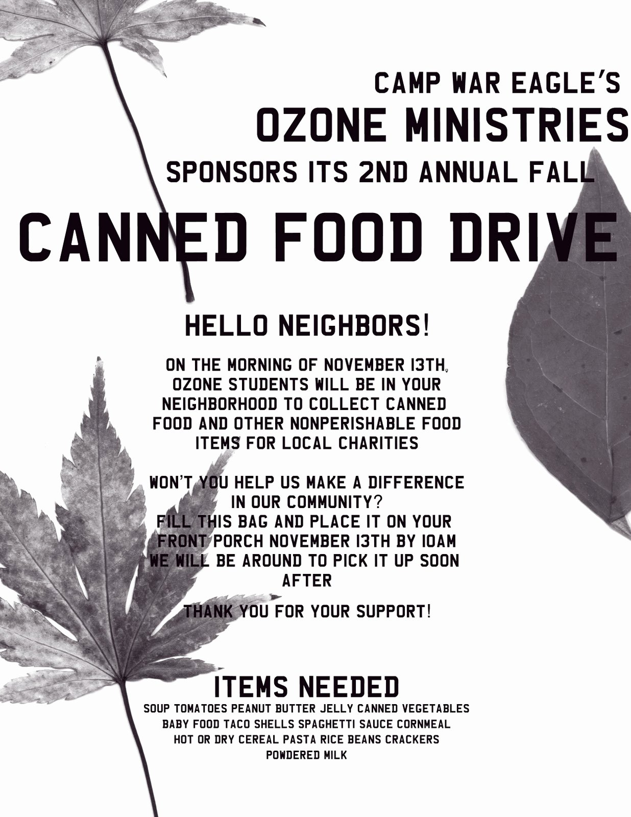 Canned Food Drive Flyer Template New Camp War Eagle 365 Canned Food Drive