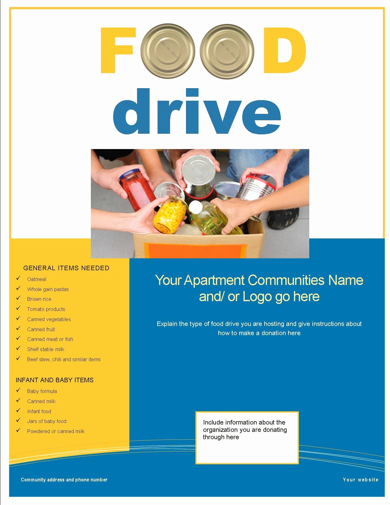 Canned Food Drive Flyer Template Unique 3 Great Feel Good Resident Activities