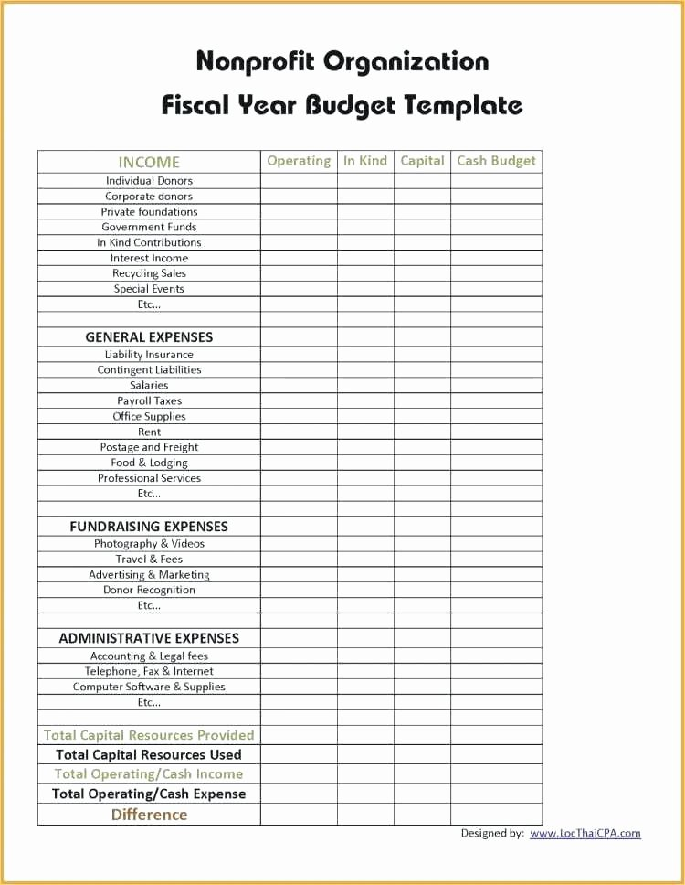 Capital Expenditure Budget Template Excel Awesome Annual Operating Bud Template New Non Profit Bud Unique