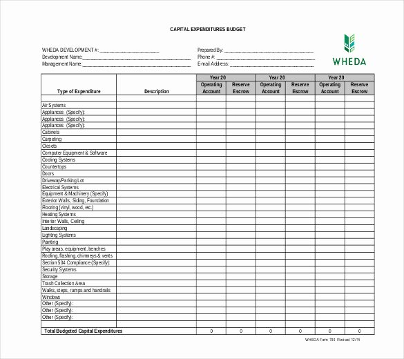 Capital Expenditure Budget Template Excel Inspirational 6 Capital Expenditure Bud Templates Doc Pdf Excel