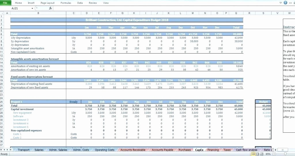 Capital Expenditure Budget Template Excel New Capital Expenditure Justification Template Capital
