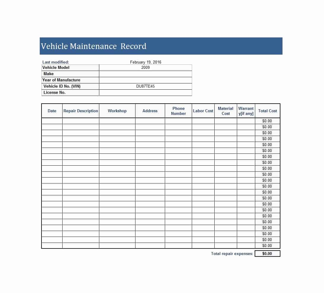 Car Maintenance Schedule Template Awesome 40 Printable Vehicle Maintenance Log Templates Template Lab