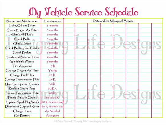 Car Maintenance Schedule Template Elegant Maintenance Schedule Template 21 Free Sample Example