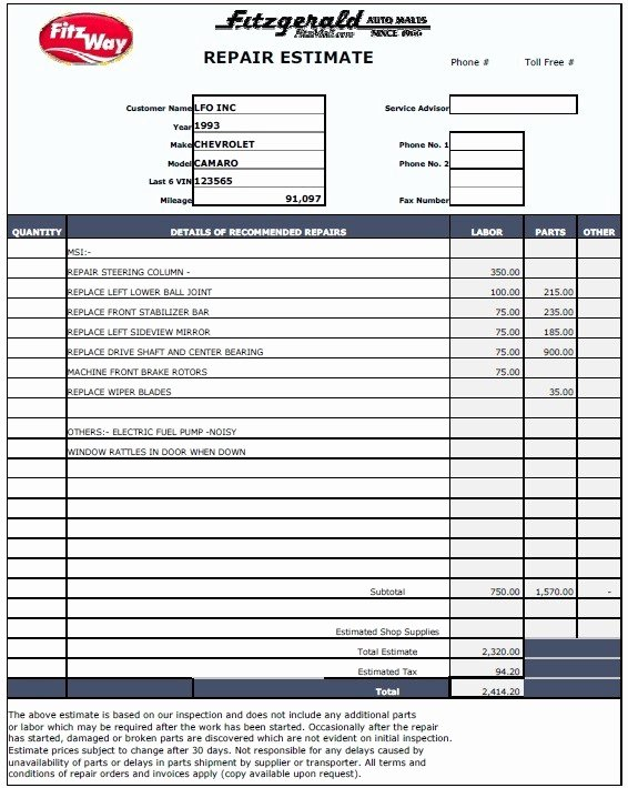 Car Repair Estimate Template Beautiful 13 Free Sample Auto Repair Estimate Templates Printable