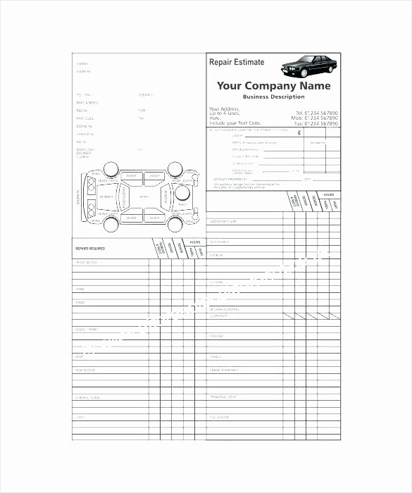Car Repair Estimate Template Elegant Auto Body Repair Estimate Template – Amandae