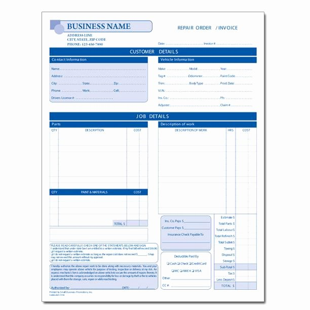 Car Repair Estimate Template Lovely Automotive Repair Invoice Work order Estimates