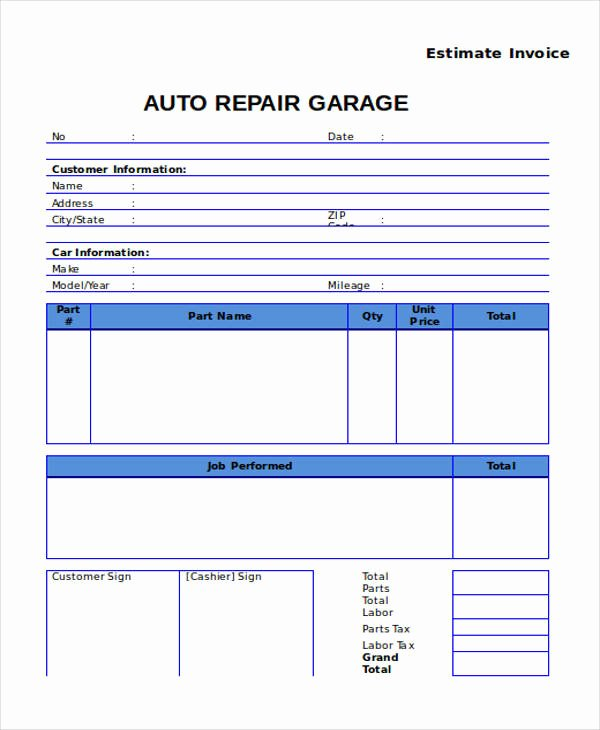 Car Repair Estimate Template New 7 Auto Repair Invoice Templates – Free Sample Example