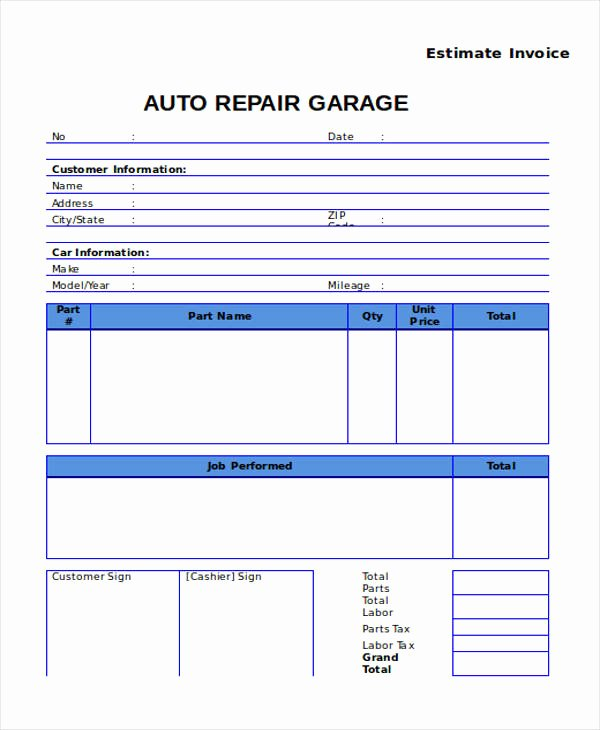 Car Repair Estimate Template New Auto Body Repair Estimate Template – Amandae