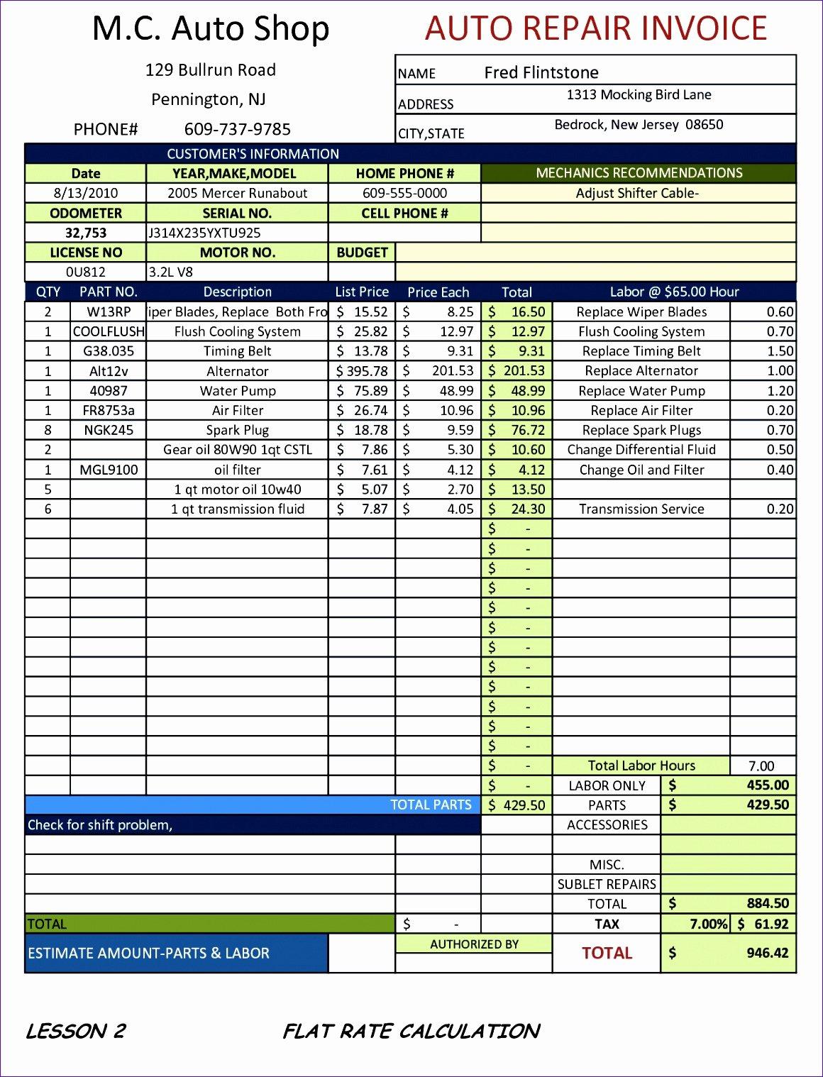 Car Repair Invoice Template Fresh 10 Sample Proforma Invoice Excel Template Exceltemplates