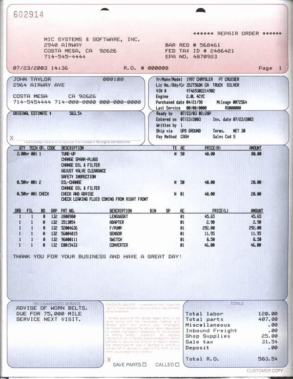 Car Repair Invoice Template Unique Automotive Repair order Pdf