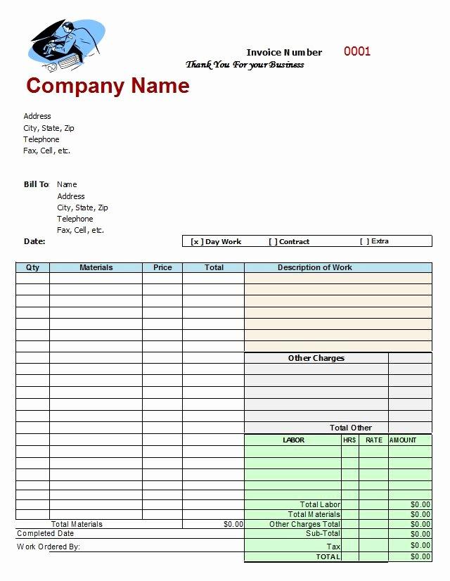 Car Repair Invoice Template Unique Mechanics Invoice